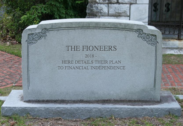 tombstone with financial independence plan