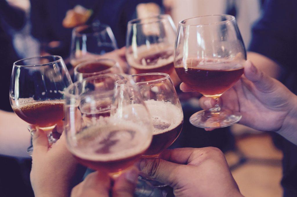 glasses toast beer