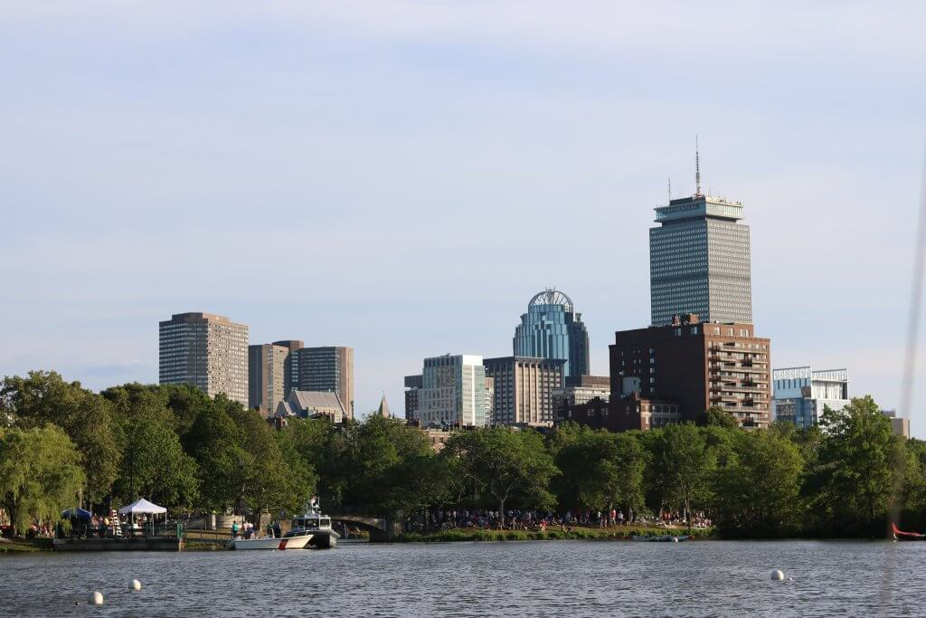 Boston City Skyline buildings water