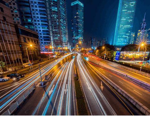 city driving highway night