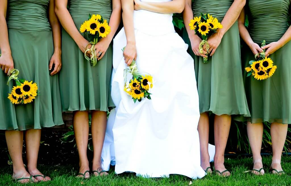 Wedding dress flowers bridesmaids