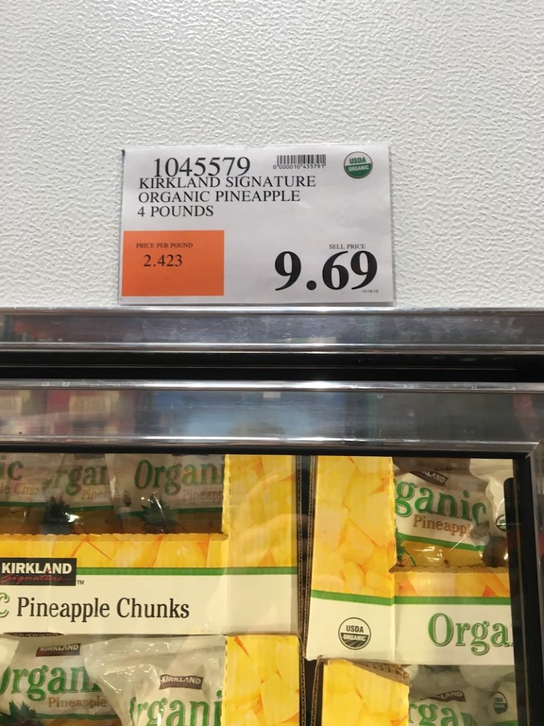 sticker price of frozen pineapple from costco