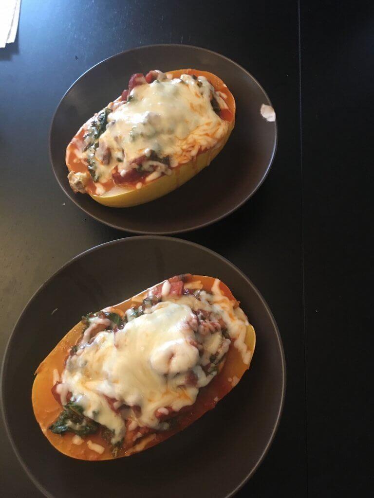 spaghetti squash kale sausage and cheese