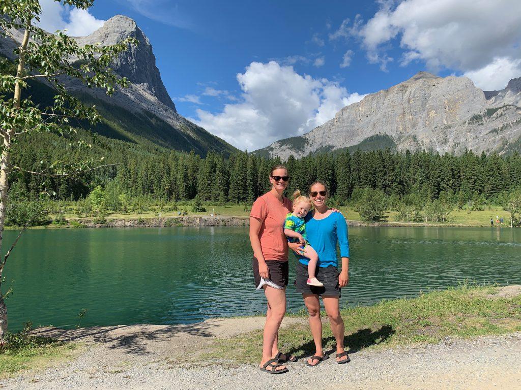 moms daughter hike lake