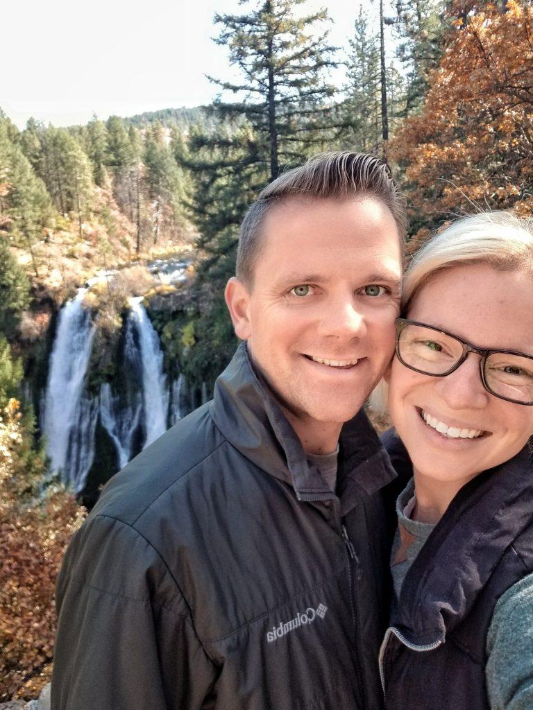 couple waterfall hike