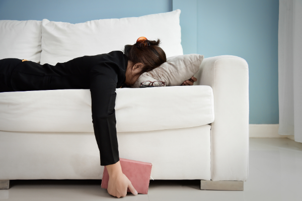 woman exhausted burned out