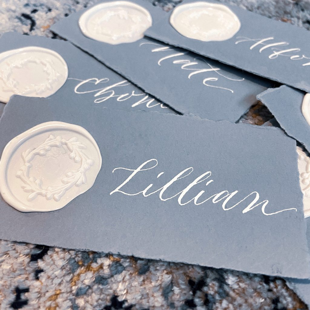 calligraphy wedding placecards