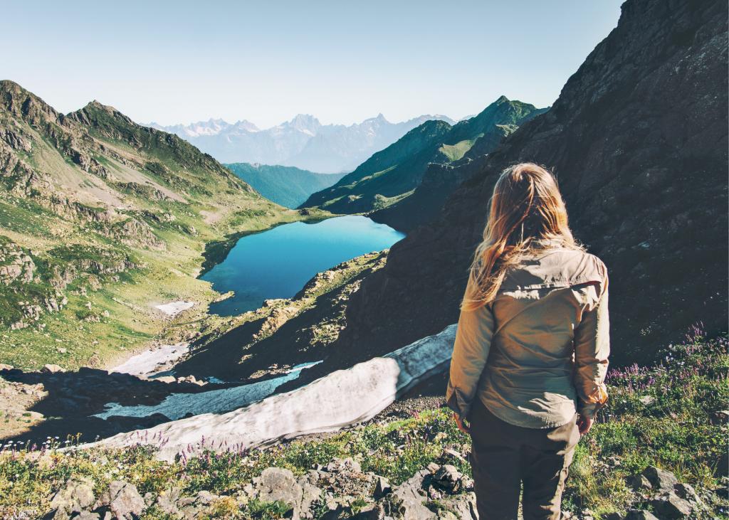 woman explore hike season